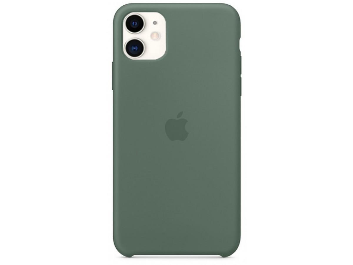 Чехол Silicone Case iPhone 11 темно-зеленый (c)  в Тюмени