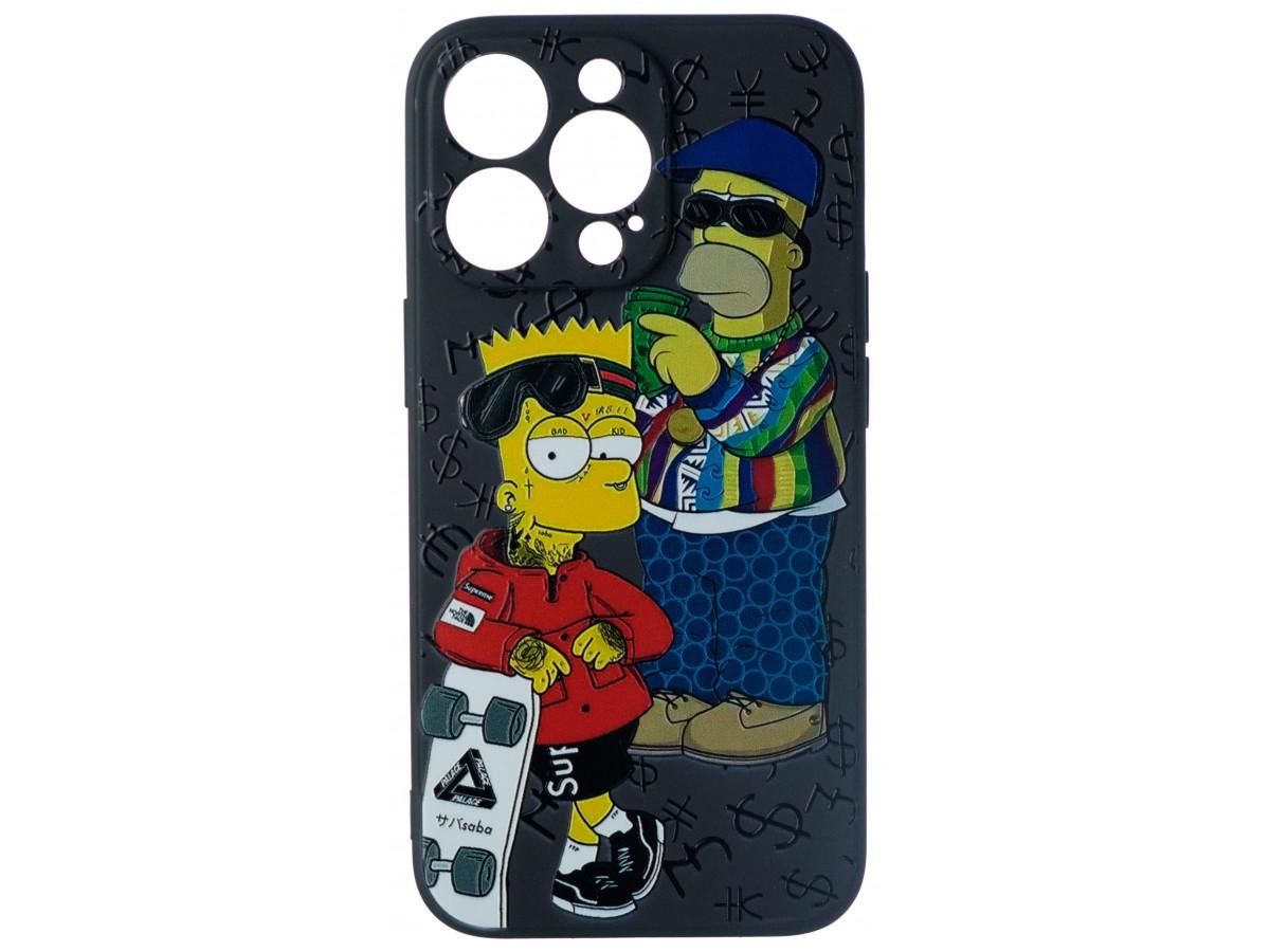 Чехол Fashn Homer and Bart для iPhone 13 Pro с принтом силиконовый в Тюмени