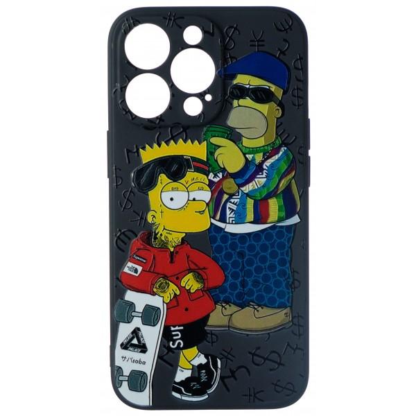 Чехол Fashn Homer and Bart для iPhone 13 Pro с принтом силиконовый