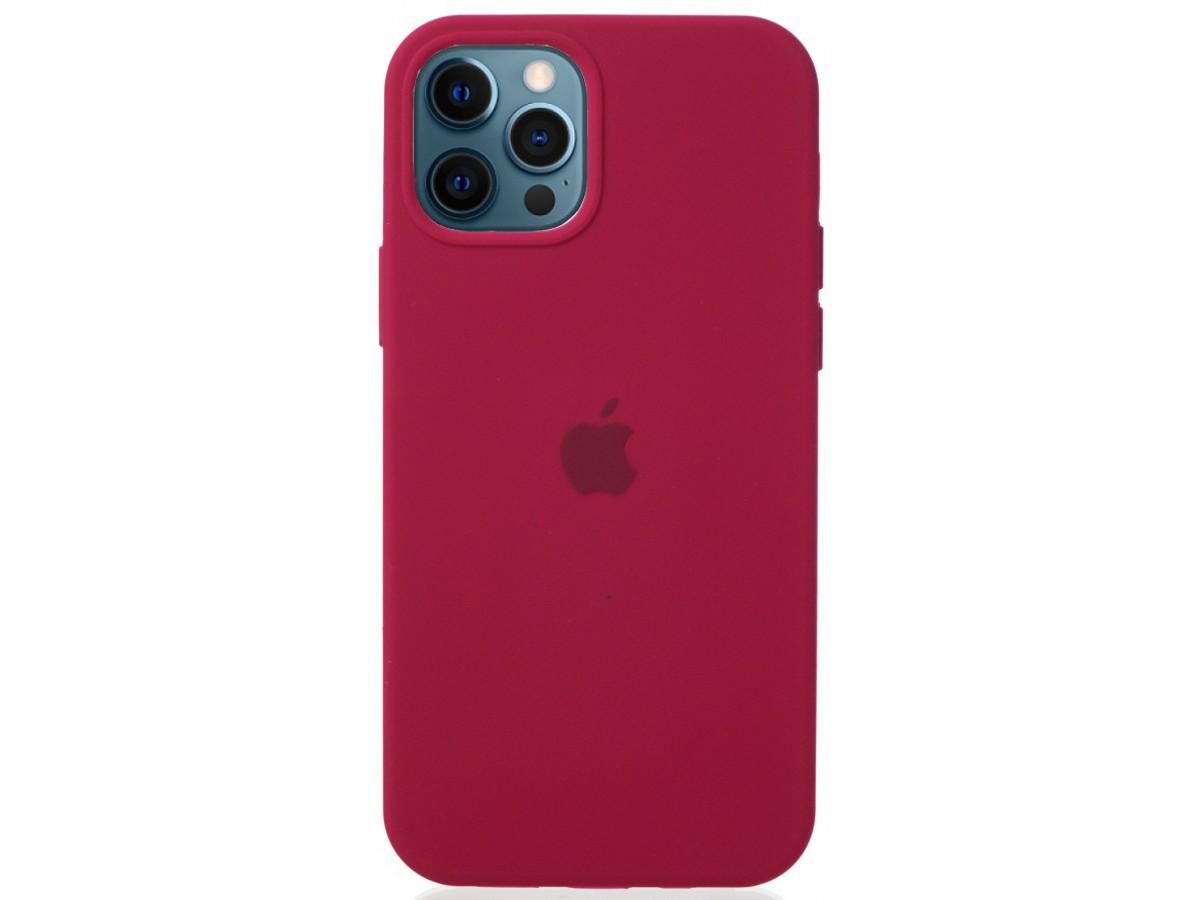 Чехол Silicone Case для iPhone 12/12 Pro малиновый в Тюмени