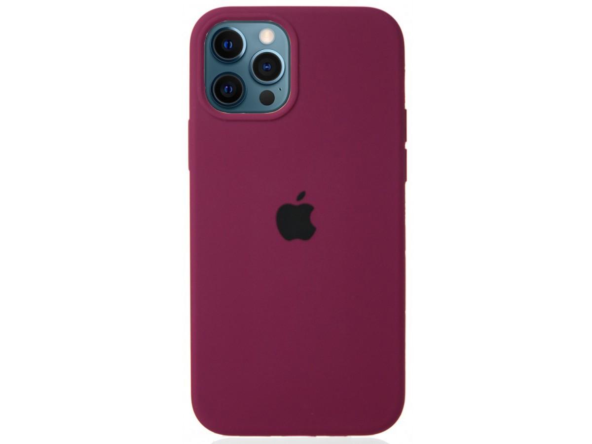 Чехол Silicone Case для iPhone 12/12 Pro марсала в Тюмени