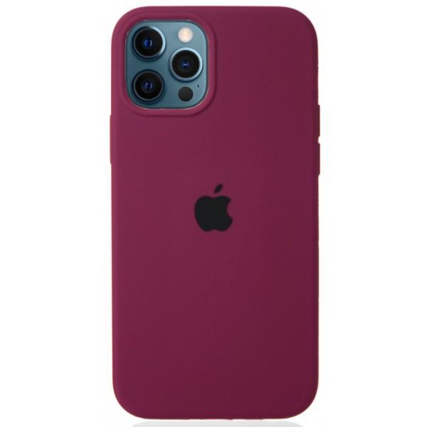 Чехол Silicone Case для iPhone 12/12 Pro марсала