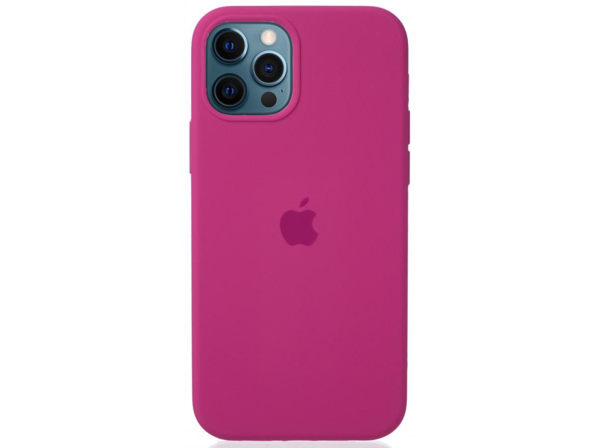 Чехол Silicone Case для iPhone 12/12 Pro темно-розовый в Тюмени