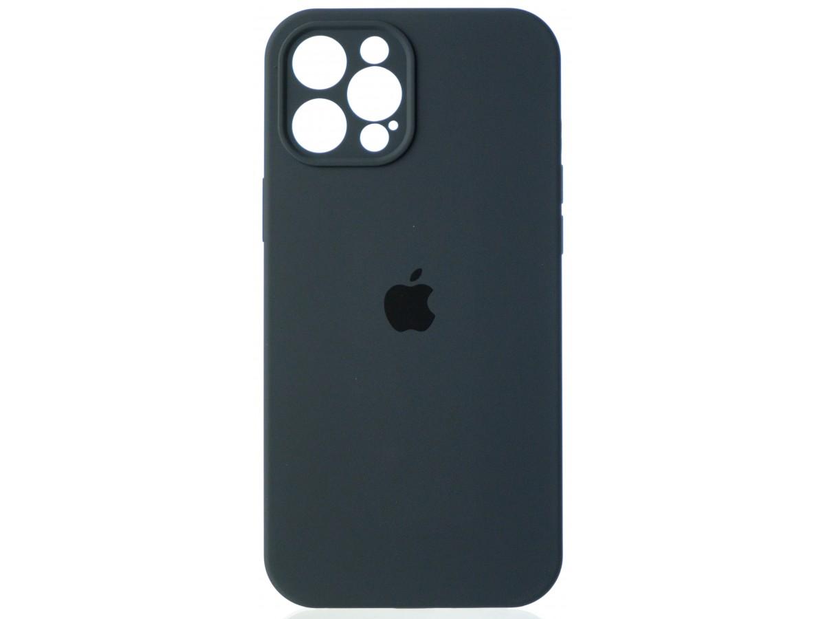 Чехол Silicone Case полная защита для iPhone 12 Pro Max темно-серый в Тюмени