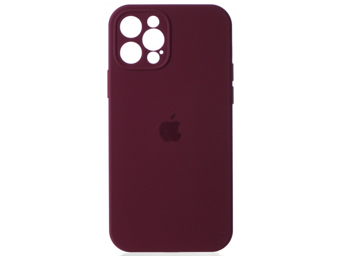 Чехол Silicone Case полная защита для iPhone 12 Pro марсала в Тюмени