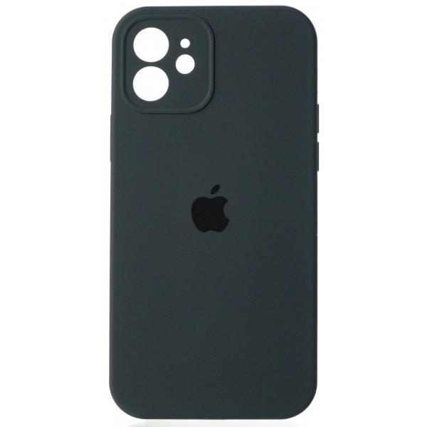 Чехол Silicone Case полная защита для iPhone 12 темно-серый