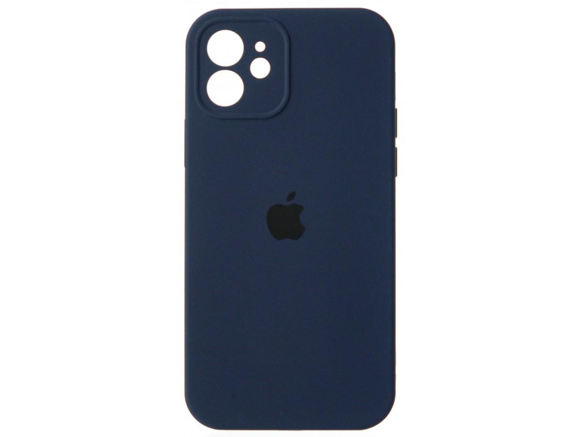 Чехол Silicone Case полная защита для iPhone 12 темно-синий в Тюмени