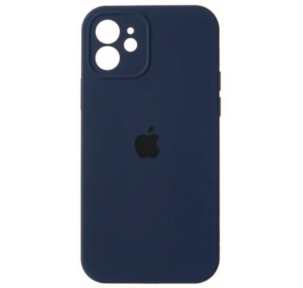 Чехол Silicone Case полная защита для iPhone 12 темно-с...
