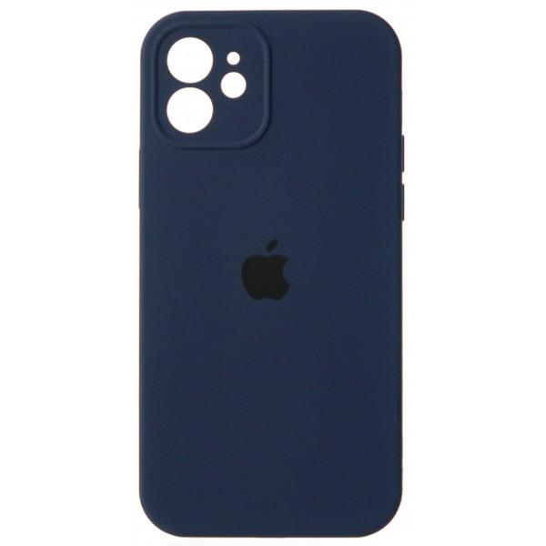 Чехол Silicone Case полная защита для iPhone 12 темно-синий