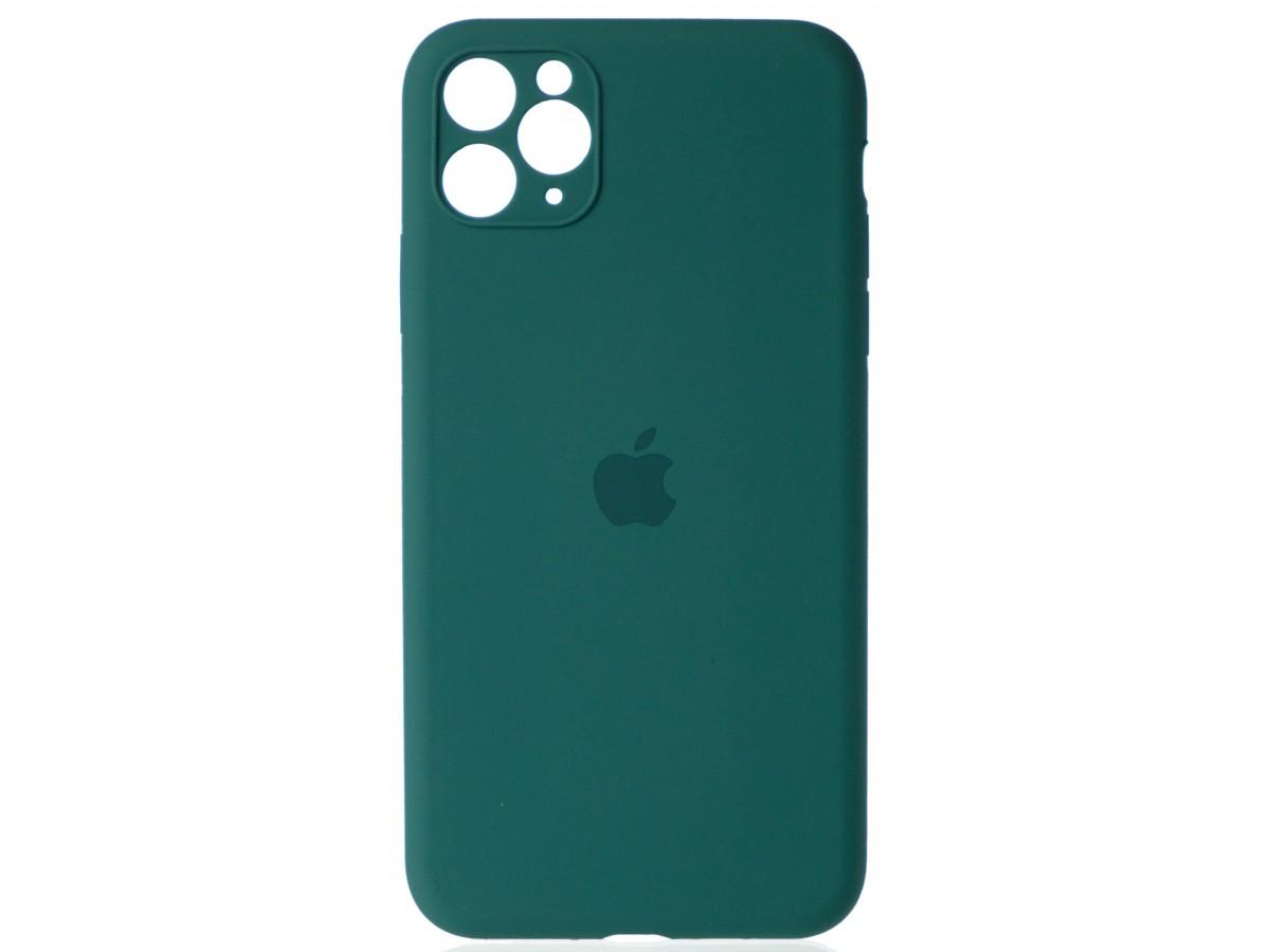 Чехол Silicone Case полная защита для iPhone 11 Pro Max темно-зеленый в Тюмени
