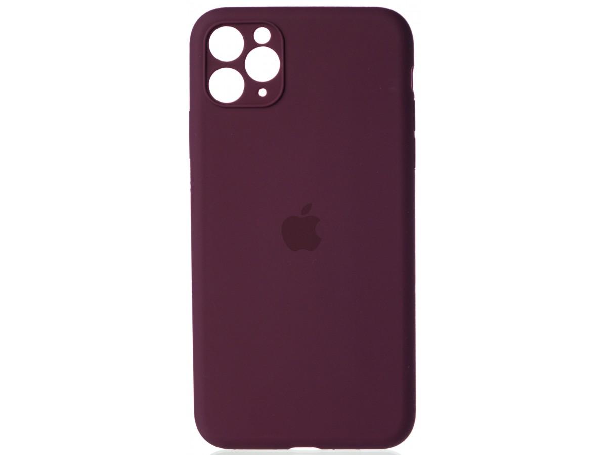 Чехол Silicone Case полная защита для iPhone 11 Pro Max винный в Тюмени