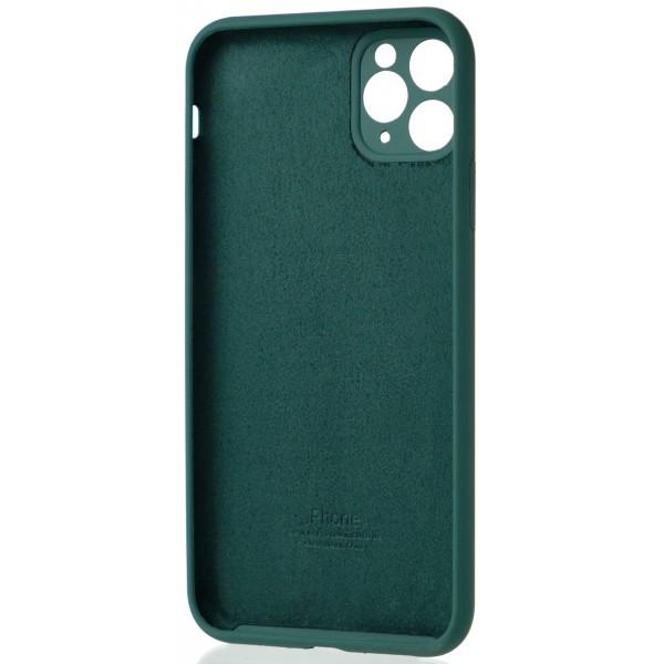 Чехол Silicone Case полная защита для iPhone 11 Pro Max темно-зеленый