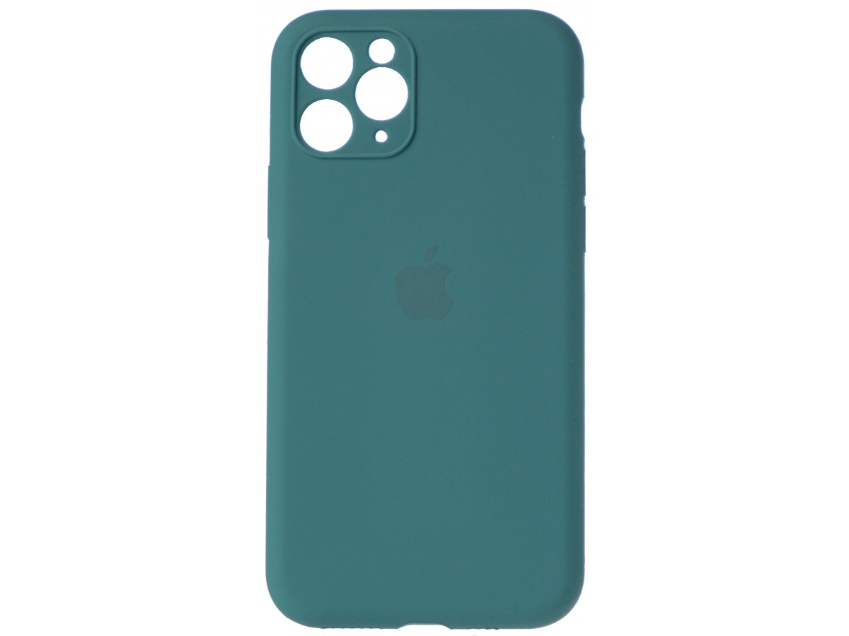 Чехол Silicone Case полная защита для iPhone 11 Pro темно-зеленый в Тюмени