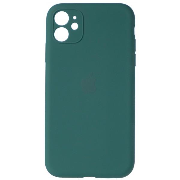 Чехол Silicone Case полная защита для iPhone 11 темно-зеленый