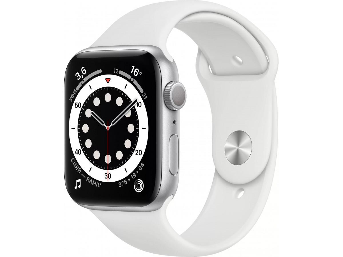 Apple Watch Series 6, 40 мм, корпус из алюминия серебристого цвета, спортивный ремешок белого цвета в Тюмени