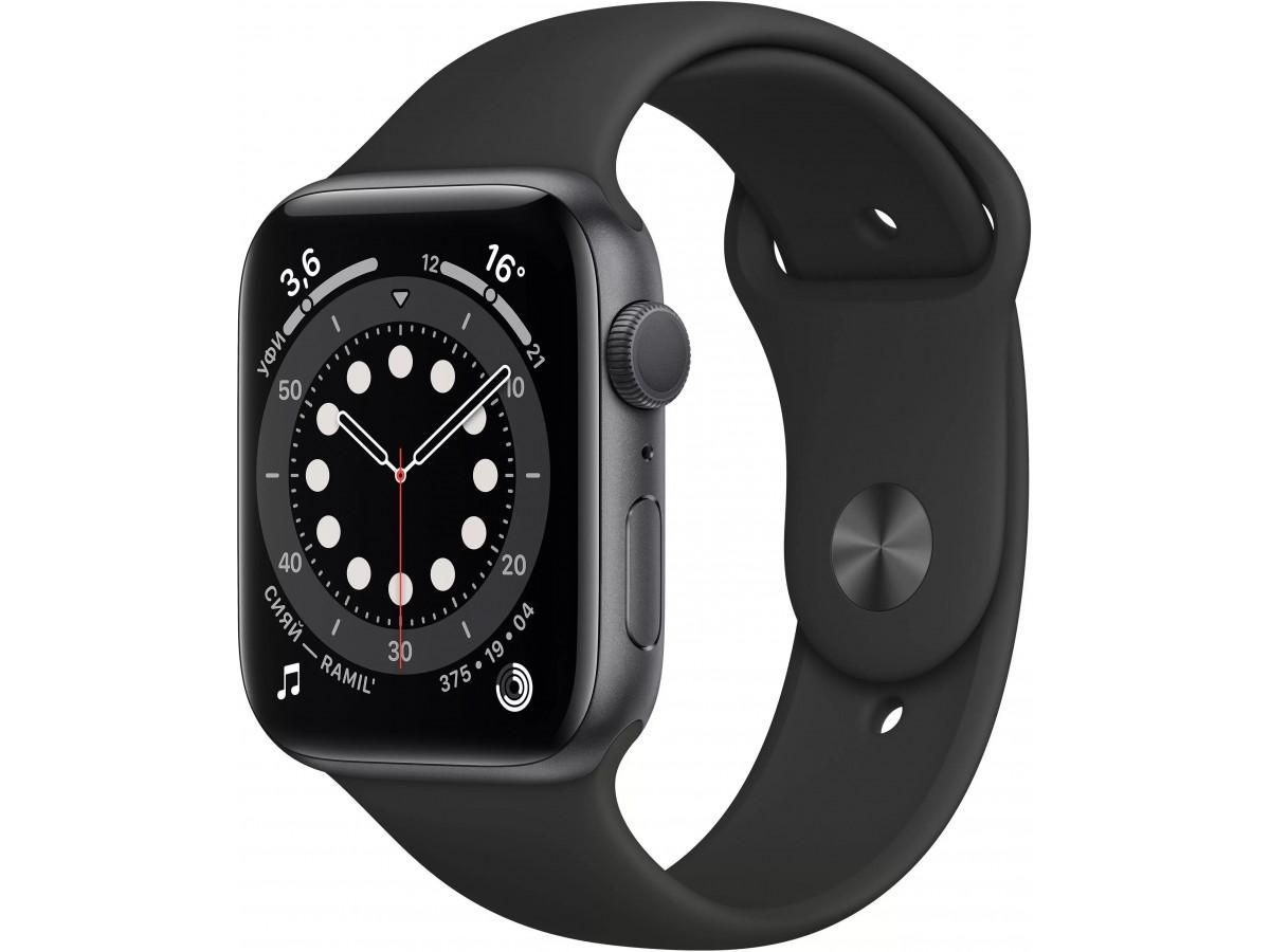 Apple Watch Series 6, 40 мм, корпус из алюминия цвета (серый космос), спортивный ремешок чёрного цвета в Тюмени