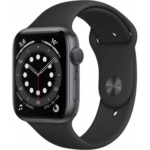 Apple Watch Series 6, 40 мм, корпус из алюминия цвета (серый космос), спортивный ремешок чёрного цвета