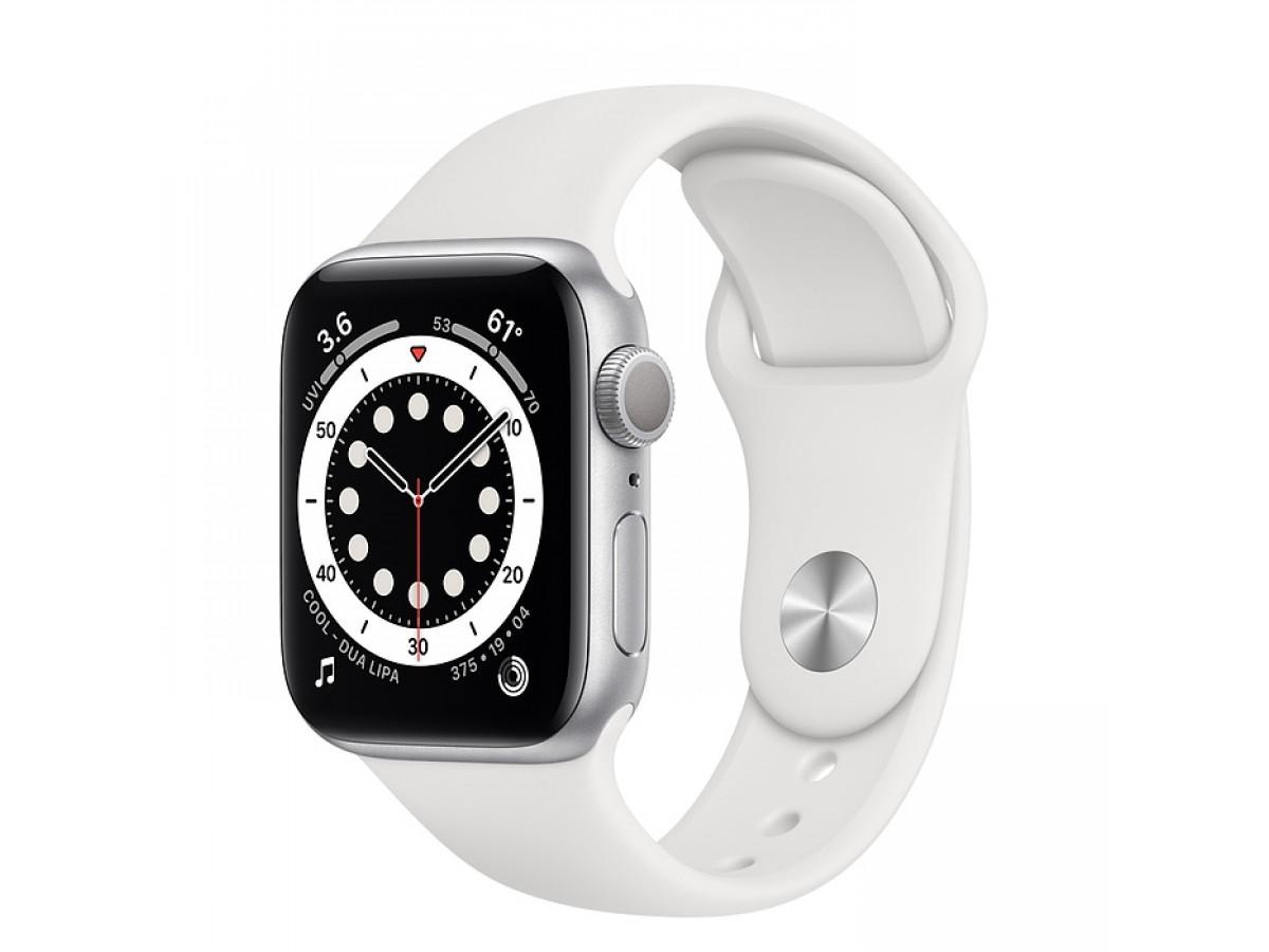 Apple Watch Series 6, 44 мм, корпус из алюминия серебристого цвета, спортивный ремешок белого цвета в Тюмени