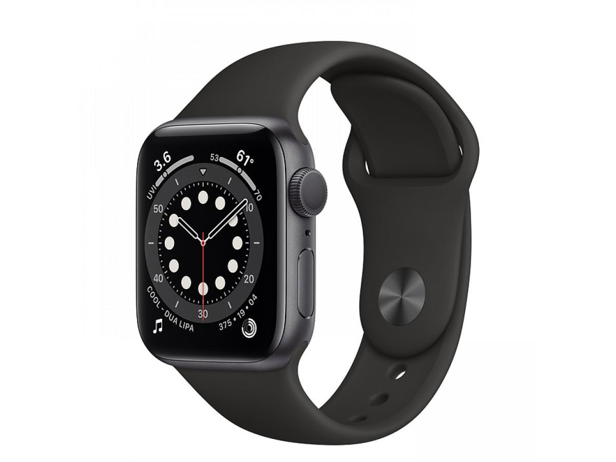 Apple Watch Series 6, 44 мм, корпус из алюминия цвета (серый космос), спортивный ремешок чёрного цвета в Тюмени