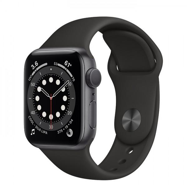 Apple Watch Series 6, 44 мм, корпус из алюминия цвета (серый космос), спортивный ремешок чёрного цвета