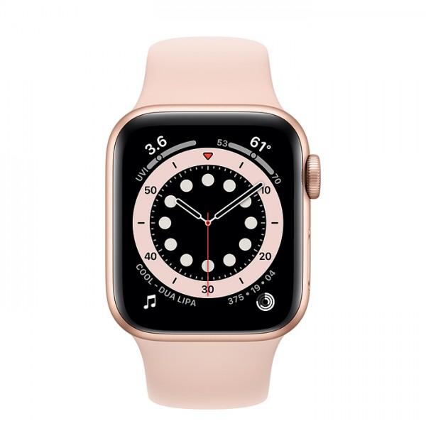 Apple Watch Series 6, 40 мм, корпус из алюминия золотого цвета, спортивный ремешок цвета (розовый песок)