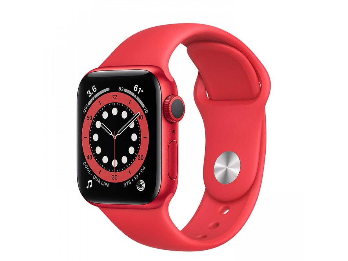 Apple Watch Series 6, 40 мм, корпус из алюминия красного цвета, спортивный ремешок красного цвета  в Тюмени