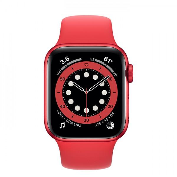 Apple Watch Series 6, 40 мм, корпус из алюминия красного цвета, спортивный ремешок красного цвета