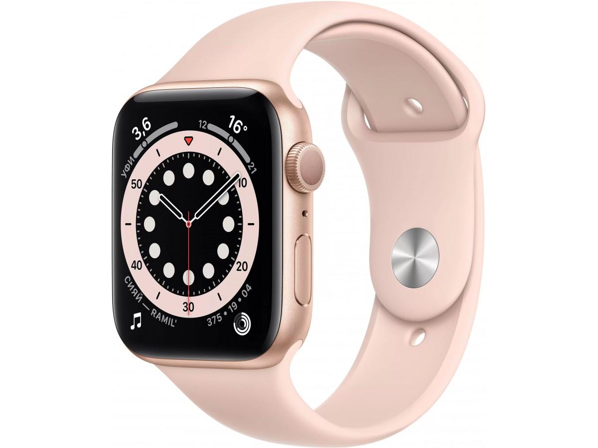Apple Watch Series 6, 40 мм, корпус из алюминия золотого цвета, спортивный ремешок цвета (розовый песок) в Тюмени