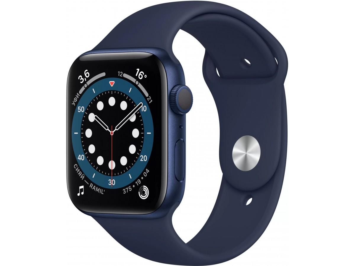 Apple Watch Series 6, 40 мм, корпус из алюминия синего цвета, спортивный ремешок цвета (темный ультрамарин) в Тюмени