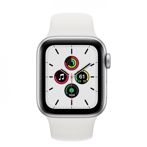 Apple Watch SE, 44 мм, корпус из алюминия серебристого цвета, спортивный ремешок белого цвета