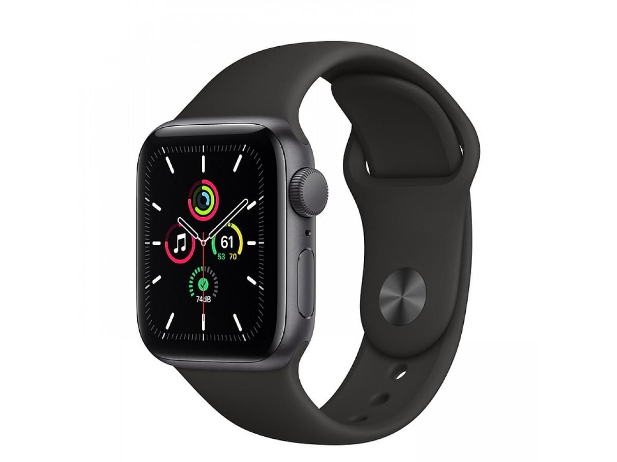 Apple Watch SE, 40 мм, корпус из алюминия цвета (серый космос), спортивный ремешок чёрного цвета в Тюмени