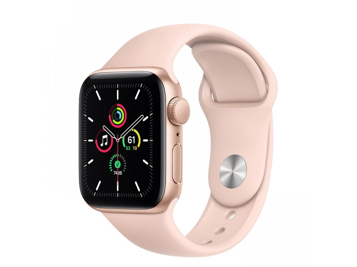 Apple Watch SE, 44 мм, корпус из алюминия золотого цвета, спортивный ремешок цвета (розовый песок) в Тюмени