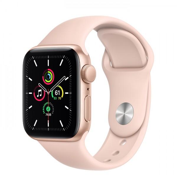Apple Watch SE, 44 мм, корпус из алюминия золотого цвета, спортивный ремешок цвета (розовый песок)