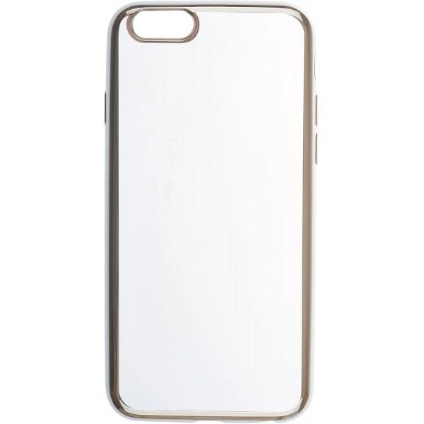 Чехол прозрачный для iPhone 6/6s силиконовый хром серебристый