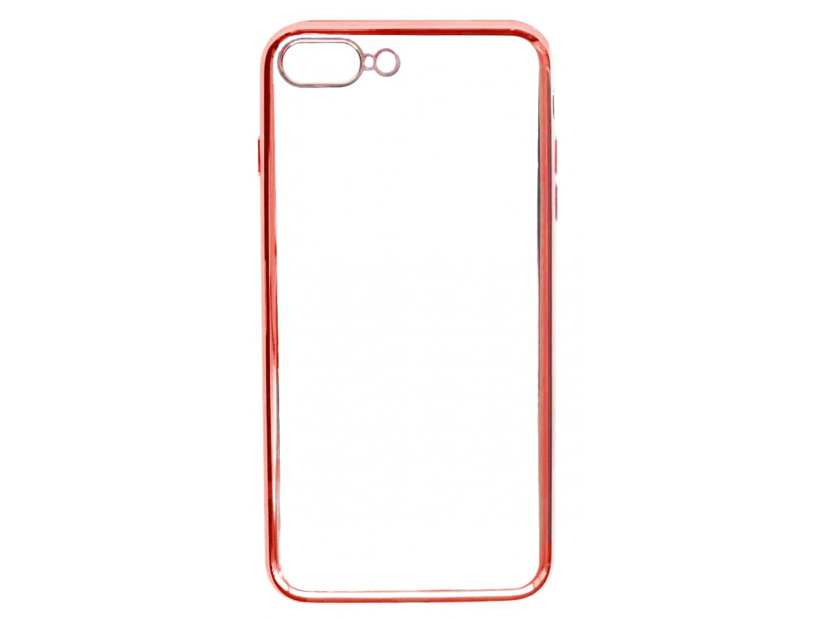 Чехол прозрачный для iPhone 7 Plus/8 Plus силиконовый хром красный в Тюмени