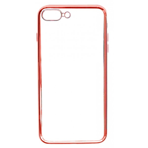 Чехол прозрачный для iPhone 7 Plus/8 Plus силиконовый хром красный