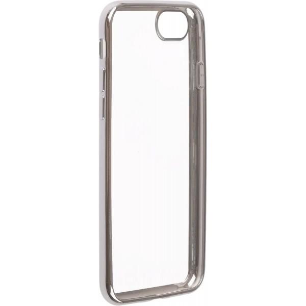 Чехол прозрачный для iPhone 7/8 силиконовый хром серебристый
