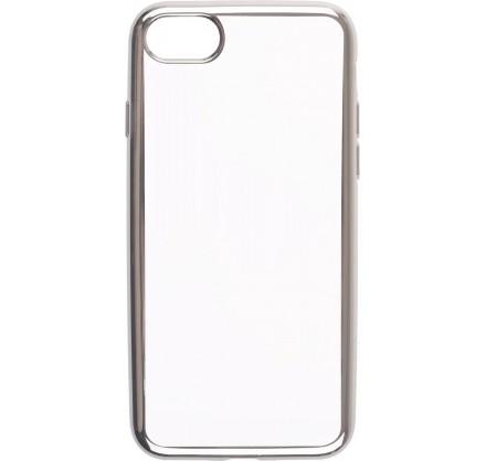 Чехол прозрачный для iPhone 7/8 силиконовый хром серебр...