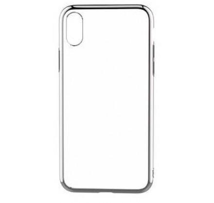 Чехол прозрачный для iPhone X/Xs силиконовый хром сереб...