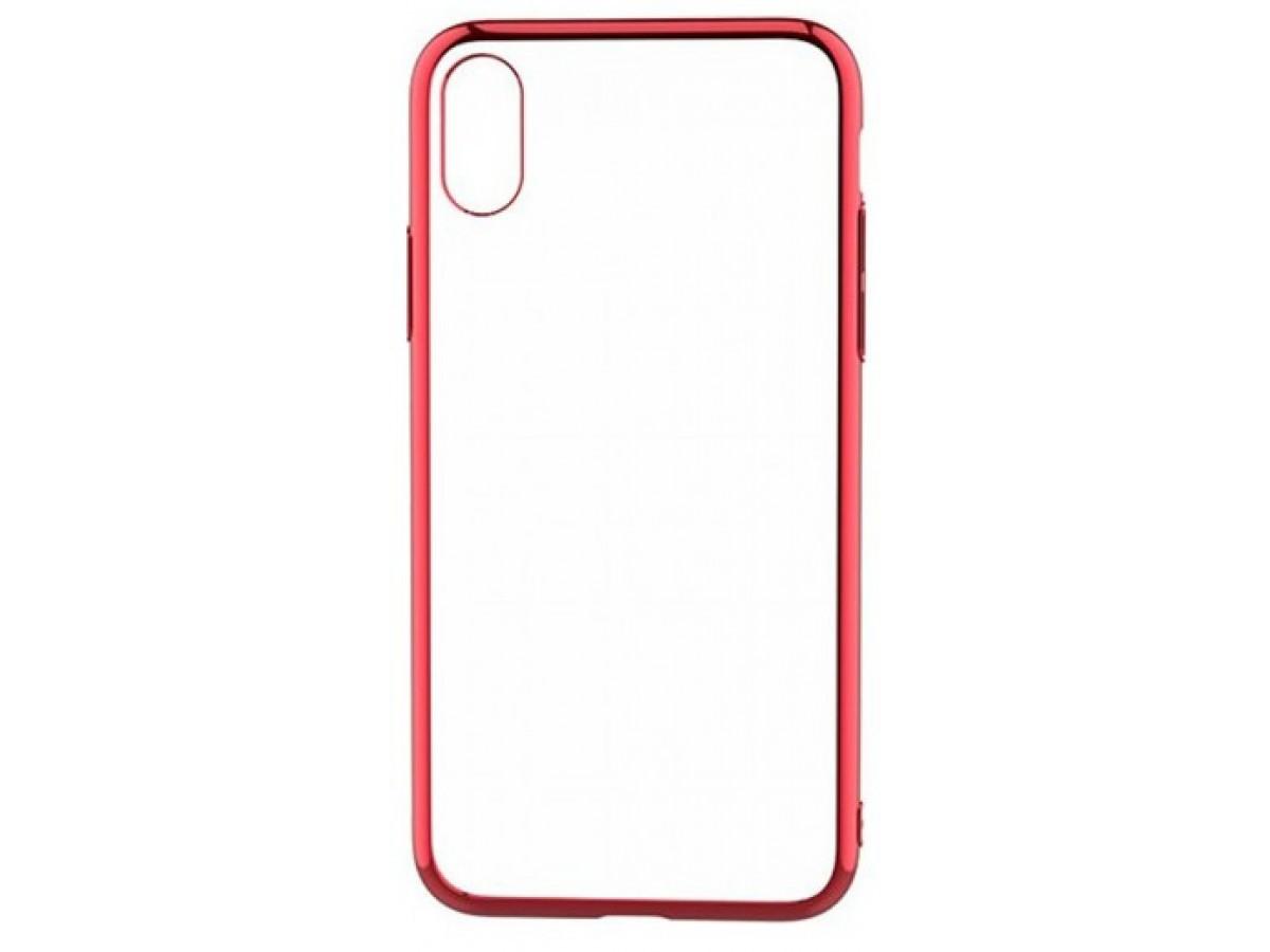 Чехол прозрачный для iPhone X/Xs силиконовый хром красный в Тюмени
