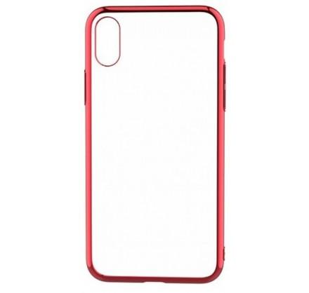 Чехол прозрачный для iPhone X/Xs силиконовый хром красн...