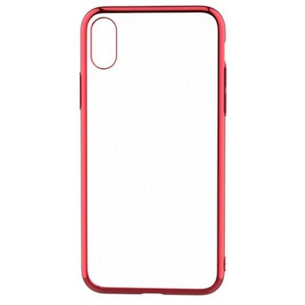 Чехол прозрачный для iPhone X/Xs силиконовый хром красный