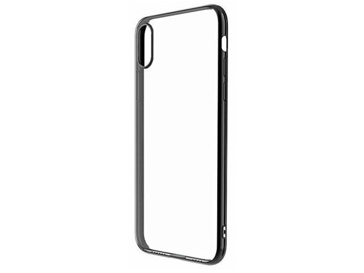 Чехол прозрачный для iPhone X/Xs силиконовый хром черный в Тюмени