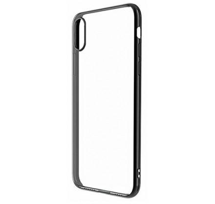 Чехол прозрачный для iPhone X/Xs силиконовый хром черны...