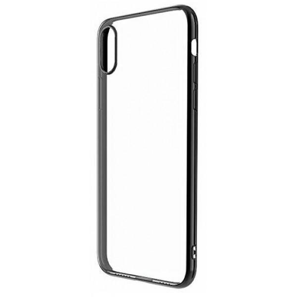 Чехол прозрачный для iPhone X/Xs силиконовый хром черный