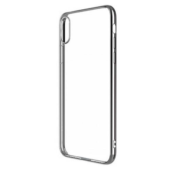 Чехол прозрачный для iPhone X/Xs силиконовый хром серебристый