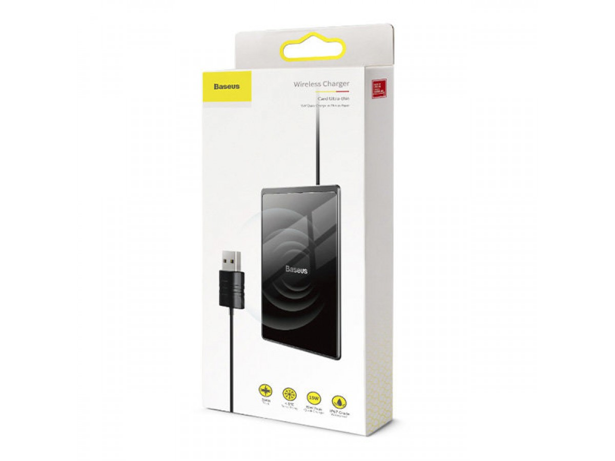 Беспроводное зарядное устройство Baseus Card Ultra-thin 15W (черный) в Тюмени