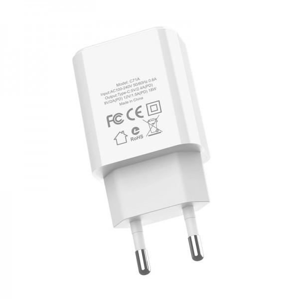 Адаптер HOCO C71A + кабель Type-c на Lightning белый