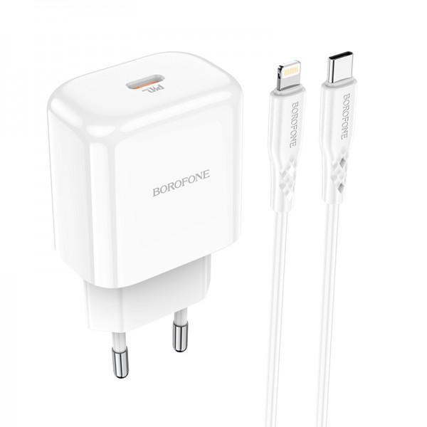 Адаптер питания + кабель зарядки Lightning Borofone BN3 белый