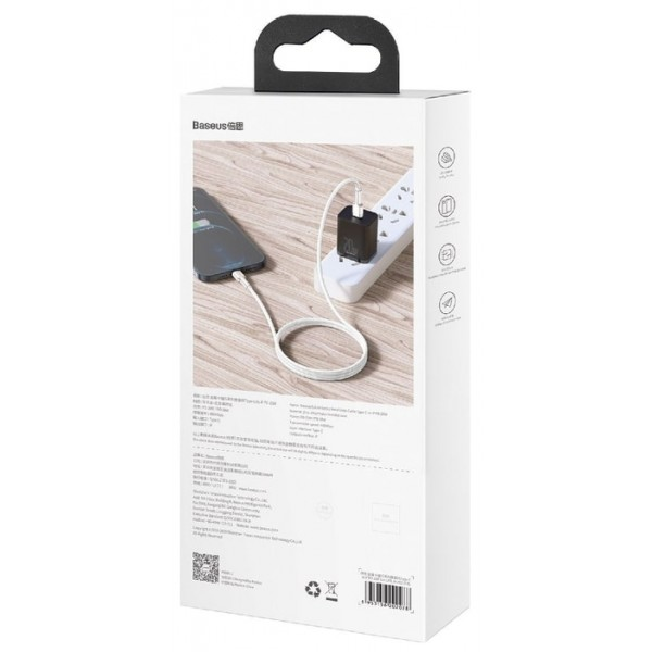 Кабель зарядки Type-C - Lightning Baseus Metal Data Cable 1m в оплетке White